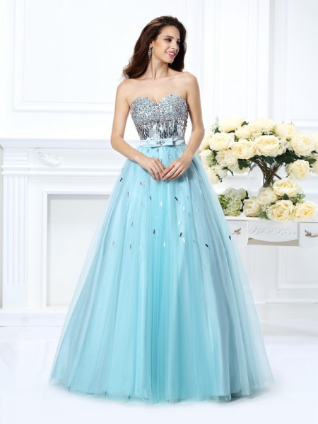 Ball Gown Sleeveless Beading Paillette Floor-Length Sweetheart Satin Dresses