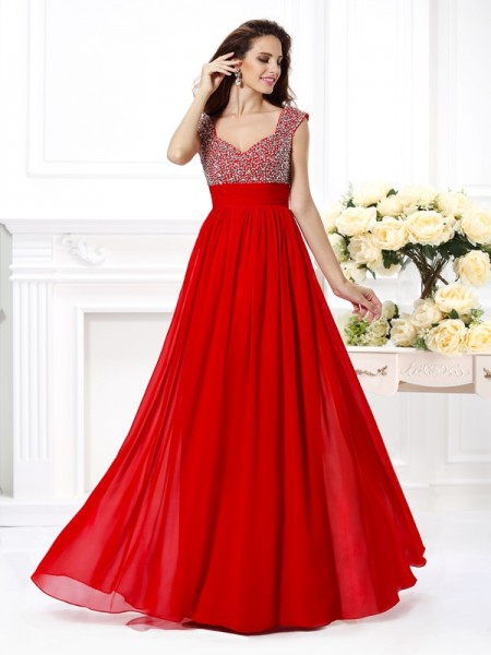 A-Line/Princess Sleeveless Beading Paillette Floor-Length Straps Chiffon Dresses