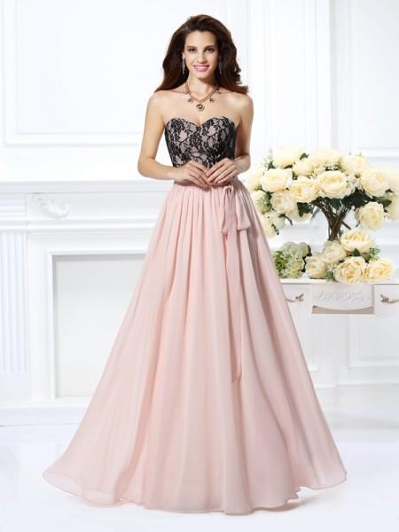 A-Line/Princess Sleeveless Lace Floor-Length Sweetheart Chiffon Dresses