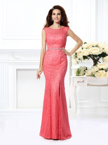 Trumpet/Mermaid Sleeveless Beading Floor-Length Bateau Lace Dresses