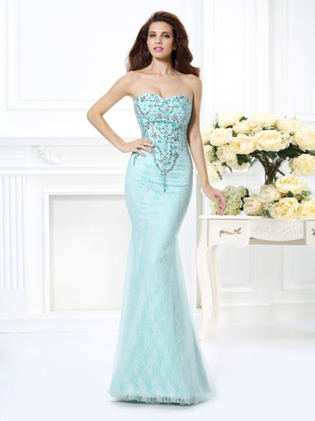 Trumpet/Mermaid Sleeveless Beading Lace Floor-Length Sweetheart Net Dresses