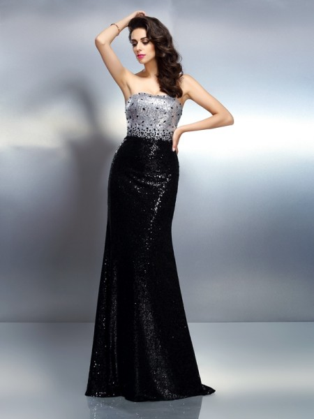 Trumpet/Mermaid Sleeveless Sequin Sweep/Brush Train Strapless Sequins Dresses