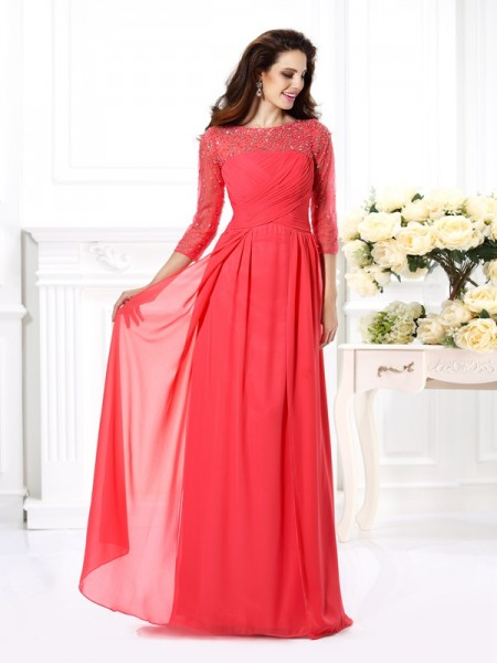 A-Line/Princess 3/4 Sleeves Beading Floor-Length Scoop Chiffon Dresses
