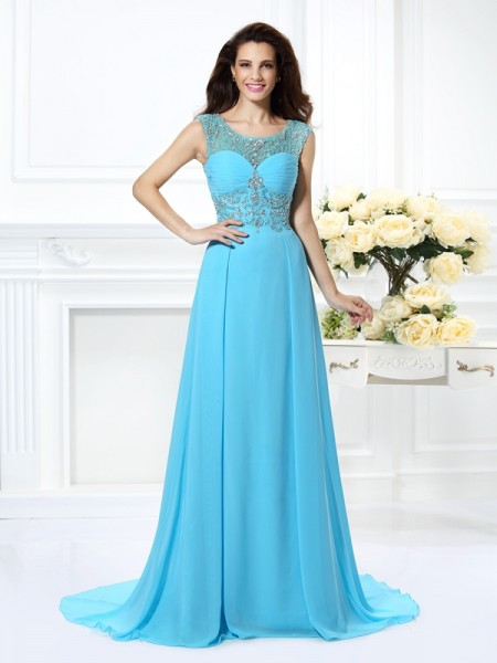A-Line/Princess Sleeveless Beading Sweep/Brush Train Scoop Chiffon Dresses