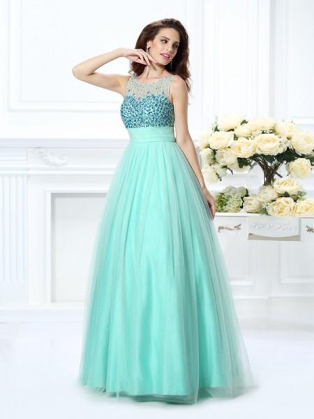 Ball Gown Sleeveless Beading Floor-Length Bateau Chiffon Dresses