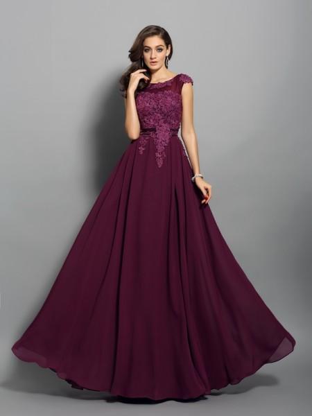 A-Line/Princess Sleeveless Applique Floor-Length Scoop Chiffon Dresses