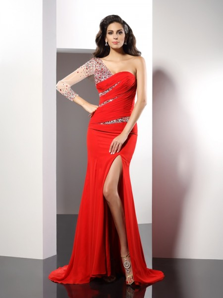 Sheath/Column 3/4 Sleeves Beading Sweep/Brush Train One-Shoulder Chiffon Dresses