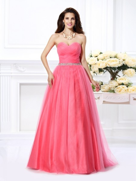 Ball Gown Sleeveless Pleats Beading Floor-Length Sweetheart Satin Dresses