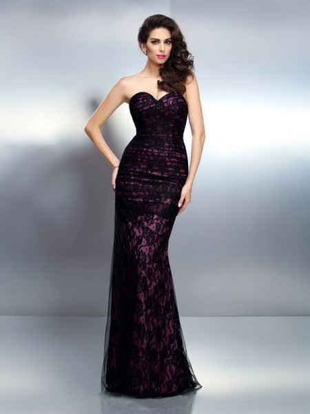 Trumpet/Mermaid Sleeveless Lace Floor-Length Sweetheart Elastic Woven Satin Dresses