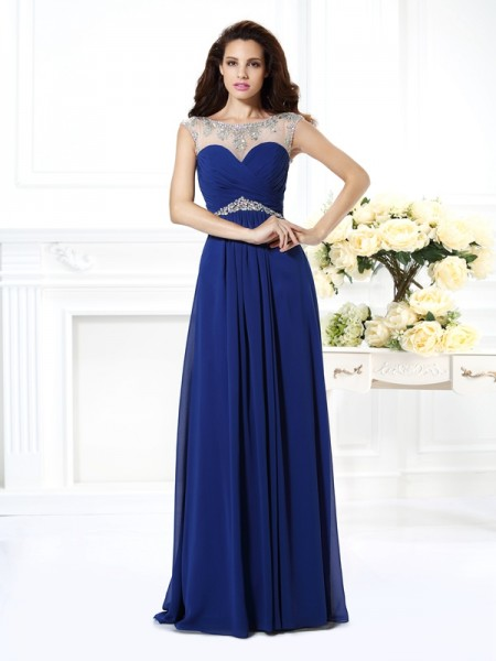 A-Line/Princess Sleeveless Beading Floor-Length Bateau Chiffon Dresses