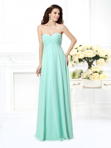 A-Line/Princess Sleeveless Floor-Length Sweetheart Chiffon Dresses