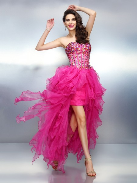 A-Line/Princess Sleeveless Rhinestone Asymmetrical Sweetheart Organza Cocktail Dresses