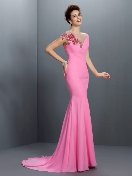 Trumpet/Mermaid Short Sleeves Beading Sweep/Brush Train Bateau Chiffon Dresses