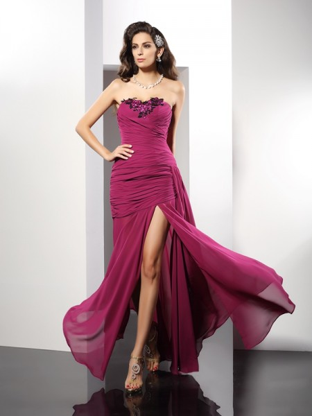 Sheath/Column Sleeveless Beading Floor-Length Strapless Chiffon Dresses