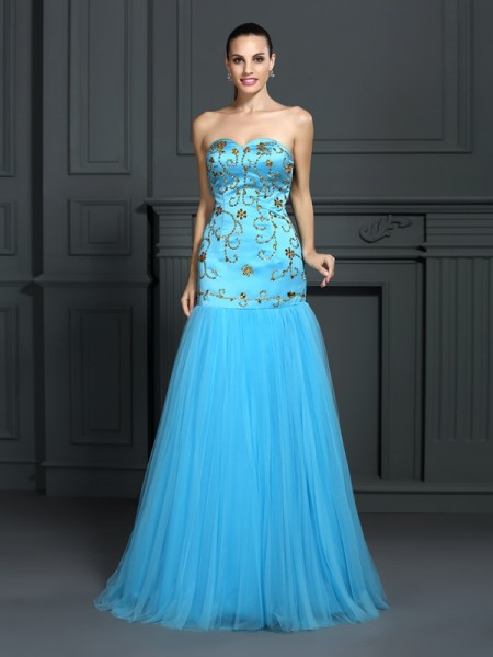Trumpet/Mermaid Sleeveless Beading Sweep/Brush Train Sweetheart Satin Dresses
