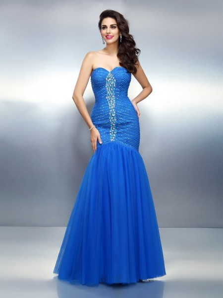 Trumpet/Mermaid Sleeveless Rhinestone Floor-Length Sweetheart Satin Dresses