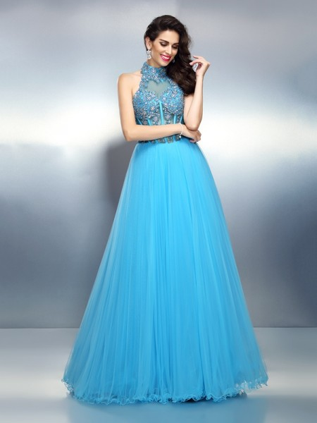 A-Line/Princess Sleeveless Beading Floor-Length High Neck Satin Dresses