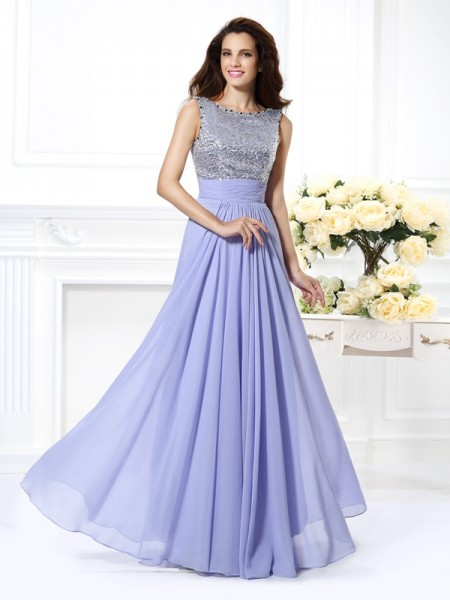 A-Line/Princess Sleeveless Lace Paillette Floor-Length Bateau Chiffon Dresses