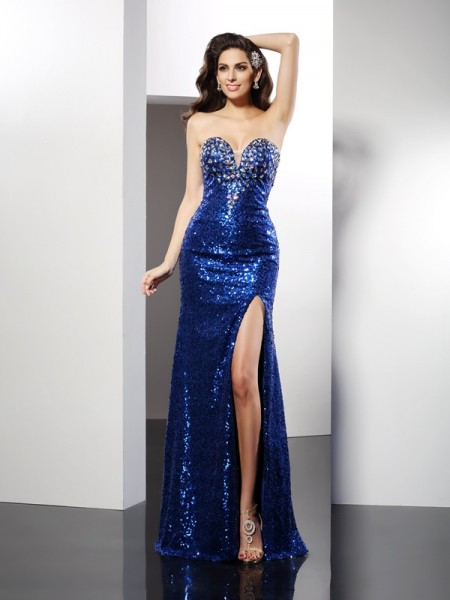 Sheath/Column Sleeveless Sequin Floor-Length Sweetheart Sequins Dresses