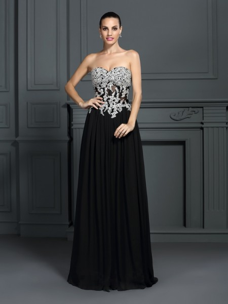 A-Line/Princess Sleeveless Applique Floor-Length Sweetheart Chiffon Dresses