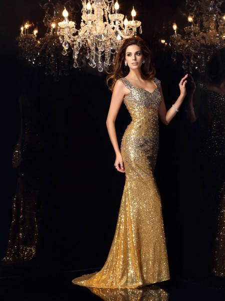 Trumpet/Mermaid Sleeveless Rhinestone Floor-Length Straps Sequins Dresses