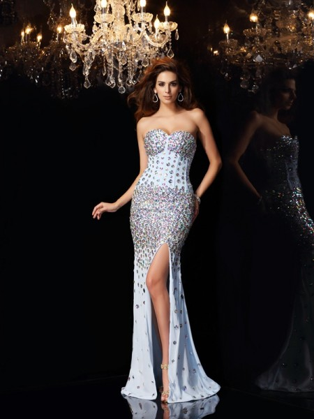Trumpet/Mermaid Sleeveless Rhinestone Sweep/Brush Train Sweetheart Chiffon Dresses