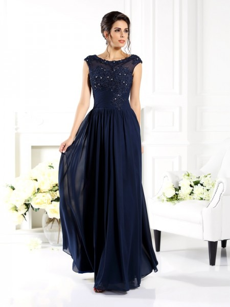 A-Line/Princess Sleeveless Beading Floor-Length Scoop Chiffon Dresses