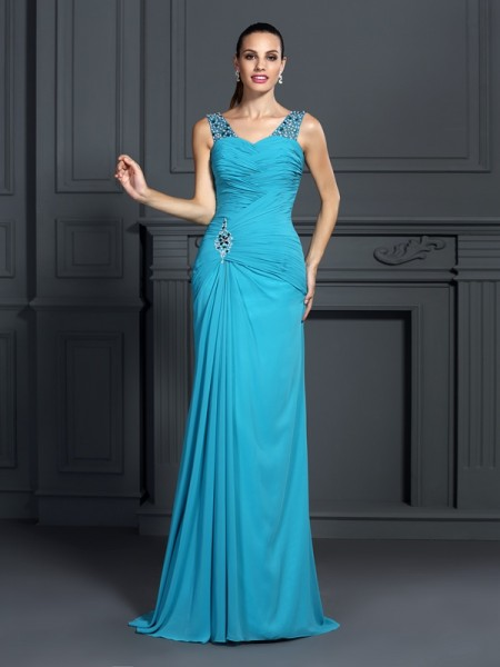 Trumpet/Mermaid Sleeveless Ruffles Sweep/Brush Train Straps Chiffon Dresses
