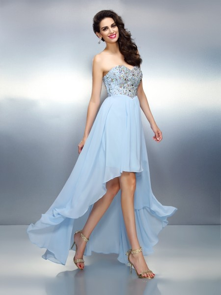 A-Line/Princess Sleeveless Ruffles Asymmetrical Sweetheart Chiffon Cocktail Dresses