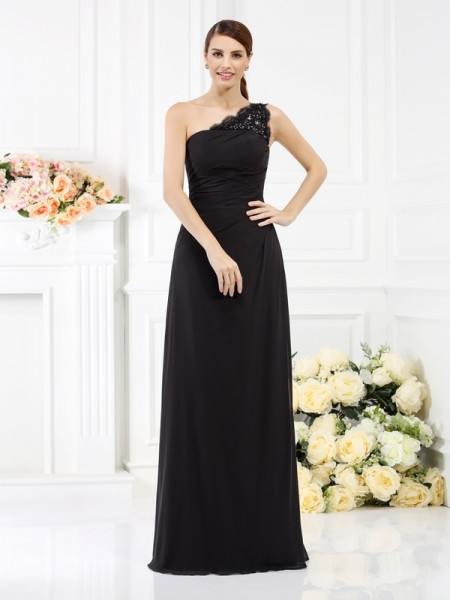 Sheath/Column Sleeveless Floor-Length One-Shoulder Satin Bridesmaid Dresses