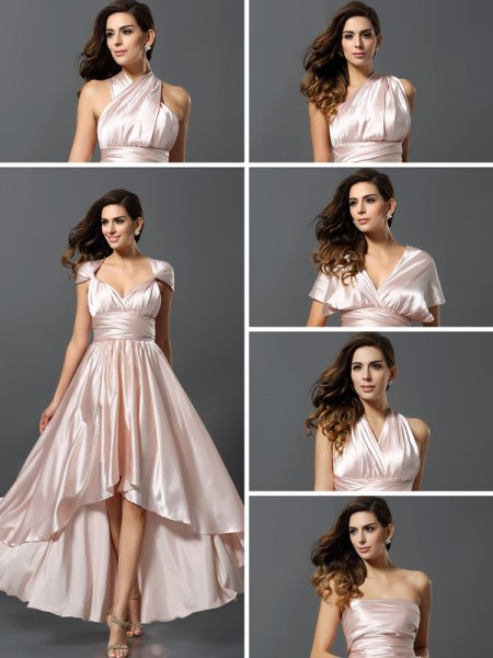 Sheath/Column Sleeveless Asymmetrical Silk like Satin Bridesmaid Dresses