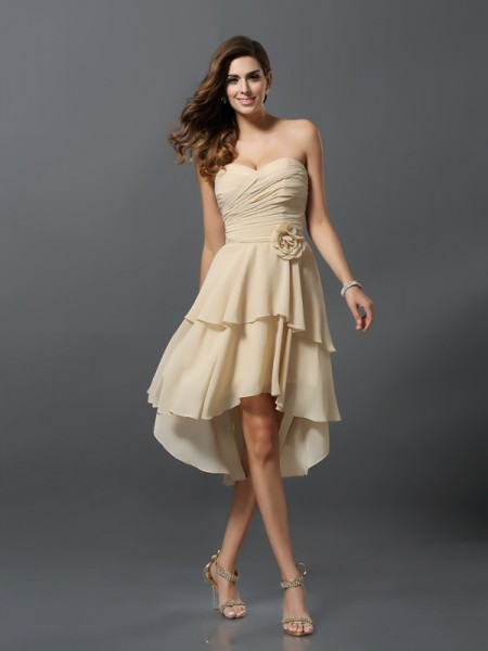 A-Line/Princess Sleeveless Hand-Made Flower Asymmetrical Sweetheart Chiffon Bridesmaid Dresses