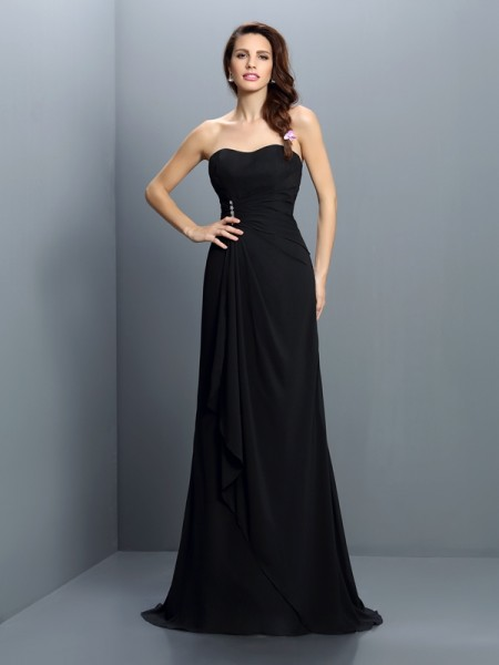 Trumpet/Mermaid Sleeveless Pleats Sweep/Brush Train Strapless Chiffon Bridesmaid Dresses