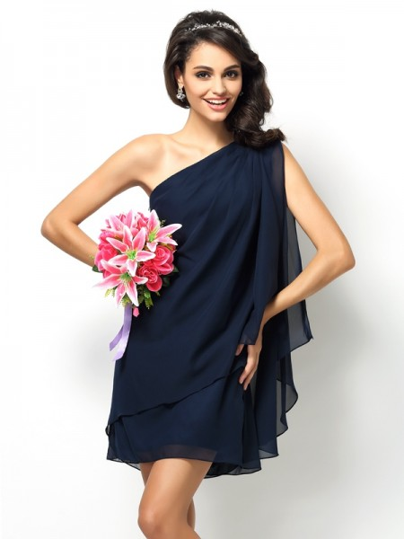 A-Line/Princess Sleeveless Short/Mini One-Shoulder Chiffon Bridesmaid Dresses