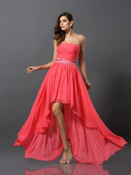 A-Line/Princess Sleeveless Asymmetrical Sweetheart Chiffon Bridesmaid Dresses