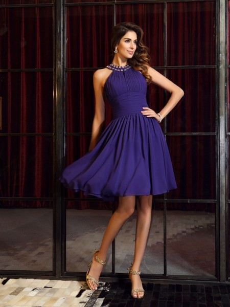 A-Line/Princess Sleeveless Pleats Knee-Length High Neck Chiffon Bridesmaid Dresses