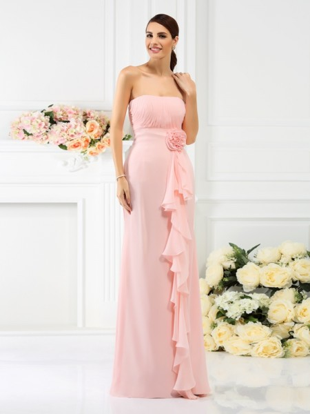 Sheath/Column Sleeveless Hand-Made Flower Floor-Length Strapless Chiffon Bridesmaid Dresses