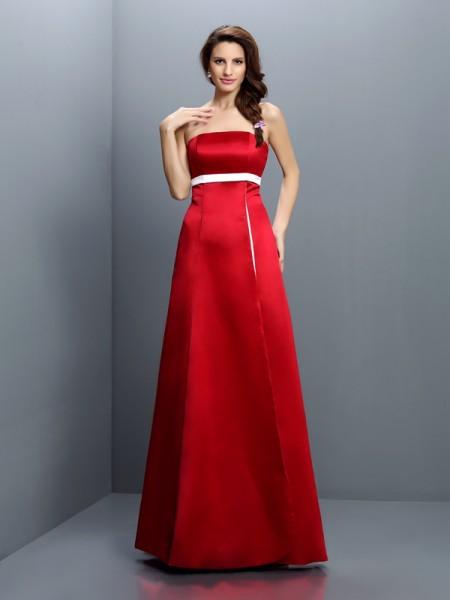 A-Line/Princess Sleeveless Sash/Ribbon/Belt Floor-Length Strapless Satin Bridesmaid Dresses