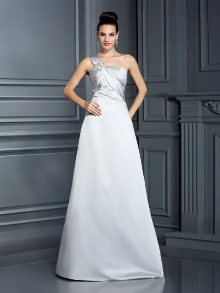 A-Line/Princess Sleeveless Floor-Length One-Shoulder Satin Dresses