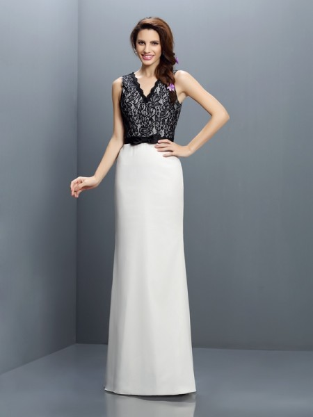 Sheath/Column Sleeveless Lace Floor-Length V-neck Chiffon Bridesmaid Dresses