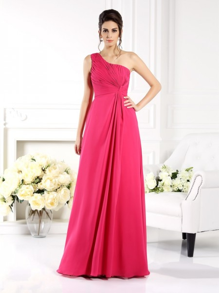 A-Line/Princess Sleeveless Ruched Floor-Length One-Shoulder Chiffon Bridesmaid Dresses