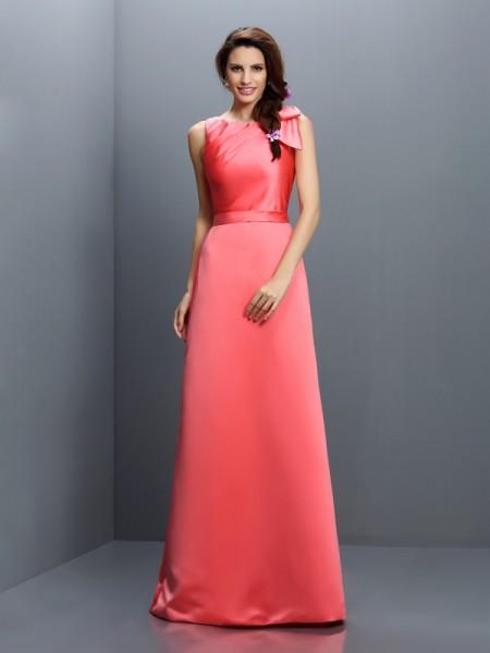 Sheath/Column Sleeveless Floor-Length Bateau Satin Bridesmaid Dresses