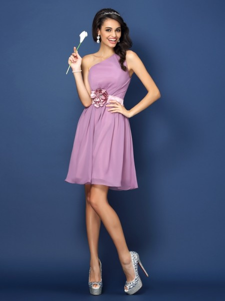 A-Line/Princess Sleeveless Hand-Made Flower Short/Mini One-Shoulder Chiffon Bridesmaid Dresses