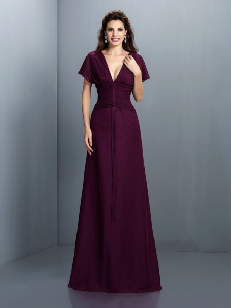 A-Line/Princess Short Sleeves Ruched Floor-Length V-neck Chiffon Dresses