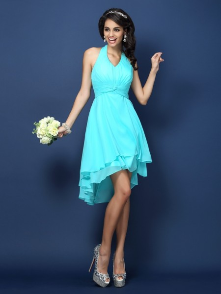 A-Line/Princess Sleeveless Pleats Short/Mini Halter Chiffon Bridesmaid Dresses