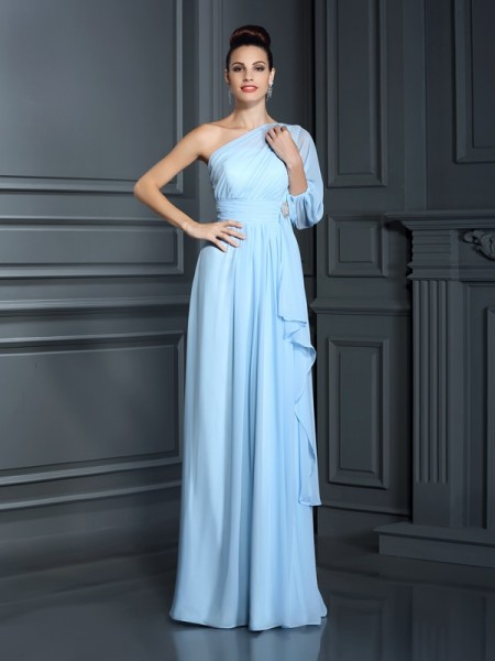 Sheath/Column 3/4 Sleeves Floor-Length One-Shoulder Chiffon Bridesmaid Dresses