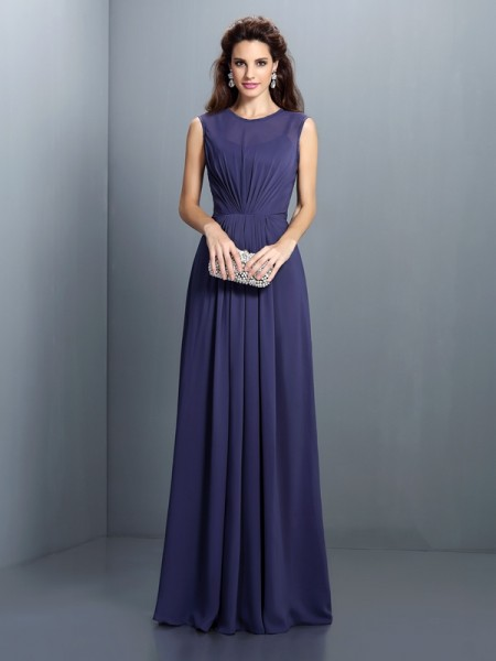 A-Line/Princess Sleeveless Pleats Floor-Length High Neck Chiffon Bridesmaid Dresses