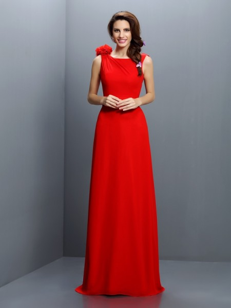 A-Line/Princess Sleeveless Hand-Made Flower Sweep/Brush Train Bateau Chiffon Bridesmaid Dresses