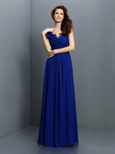A-Line/Princess Sleeveless Pleats Floor-Length V-neck Chiffon Bridesmaid Dresses