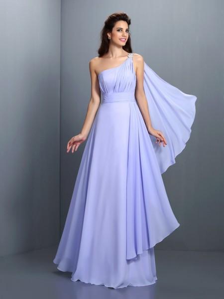 A-Line/Princess Sleeveless Pleats Floor-Length One-Shoulder Chiffon Bridesmaid Dresses